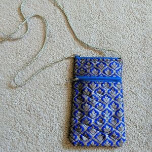 Indian Blue Brocade Phone Pouch Purse Crossbody